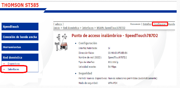 modem Wi-Fi Thomson TG585v6