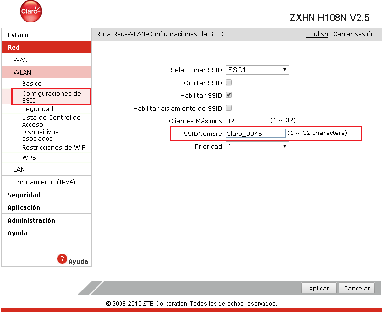 modem Wi-Fi ZTE ZXHN H108N