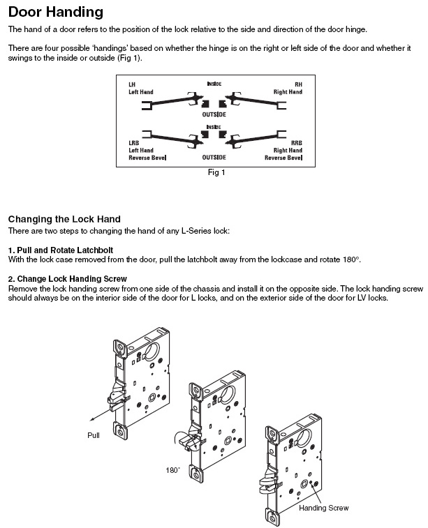 What is the procedure for re-handing the L9000 mortise lock case?