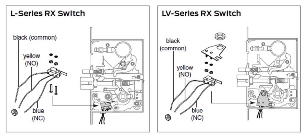 L9000 RX what are the wiring details for the schlage l9000 mortise rx switch? allegion wiring diagrams at sewacar.co